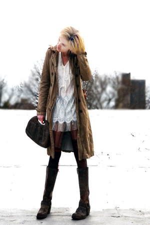 dark khaki trench gryphon coat - dark brown knee high Frye boots