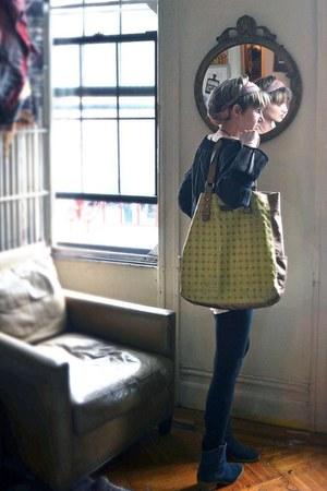 blue suede ecote boots - bubble gum turban vintage scarf