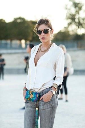 gray jeans - turquoise blue snakeskin bag - white blouse