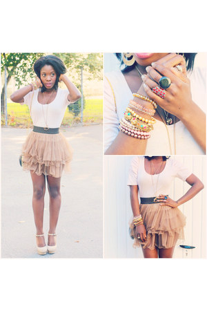 neutral H&M skirt - beige Tally Wally blouse - peach Primark pumps