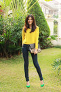 Navy-high-waisted-cheap-monday-jeans-black-leopard-print-mango-bag