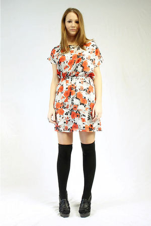 black over the knee Seventh Door socks - black shoes - orange Seventh Door dress