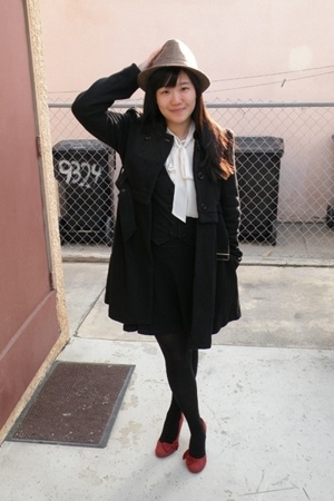 Guess coat - forever 21 blouse - forever 21 vest - American Apparel skirt - Lela