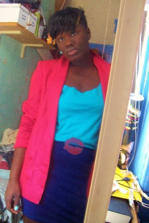 hot pink thrifted vintage blazer - turquoise blue No Name Tank top - navy Foreve