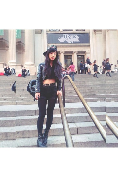 Urban Outfitters hat - Top Shop boots - Urban Outfitters bag - vintage shorts