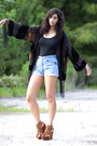 Light-blue-urban-outfitters-shorts-black-crystallized-vintage-kimono-cardigan-