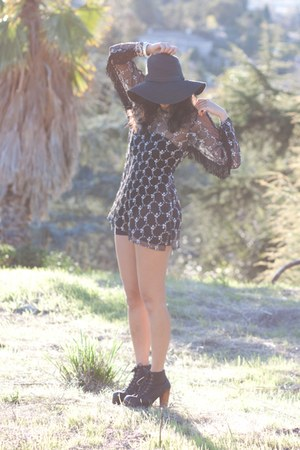 jeffrey campbell lita boots - thrift store find  DIY dress - Forever 21 hat
