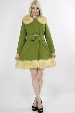 olive green fur trimmed coat