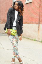 lime green pazazz bag - off white HetM pants