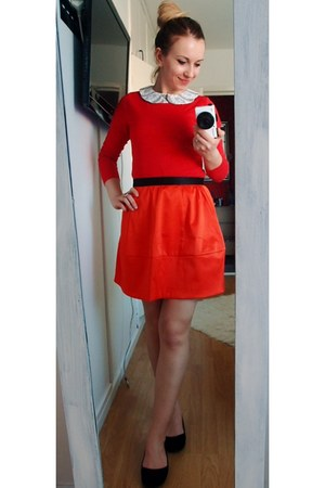 red old t-shirt - black old shoes - ivory orrsay top - carrot orange H&M skirt