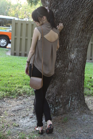 dark khaki cut off blouse Forever 21 blouse - camel Forever 21 bag