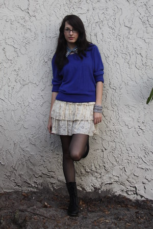 blue Forever 21 sweater - black olsenboye boots - beige Forever 21 dress