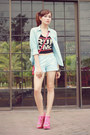 Light-blue-giordano-shirt-light-blue-summer-giordano-shorts
