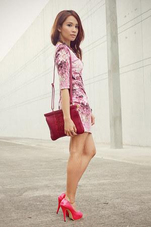 magenta floral splatter SM Store dress