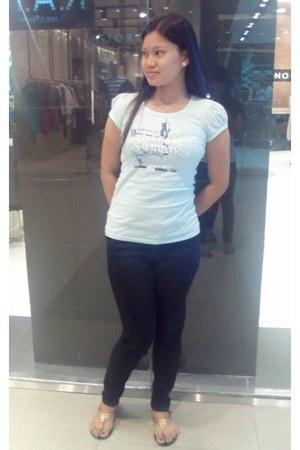 black Jinmoss jeans - turquoise shirt