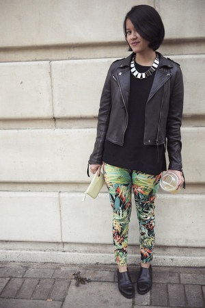 jungle print Topshop pants - Walter Steiger shoes - black Topshop shirt