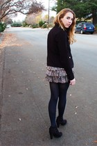 black boots - coat - ruffled floral skirt