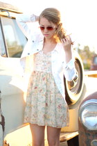 lace floral Mink Pink dress - white white denim AG jacket