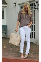white Old Navy jeans - taupe Forever 21 shirt - beige Aldo bag