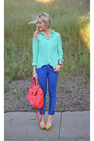 mustard Target shoes - blue Forever 21 jeans - ginham Old Navy shirt