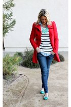 striped Forever 21 sweater - teal talbots shoes - red H&M jacket