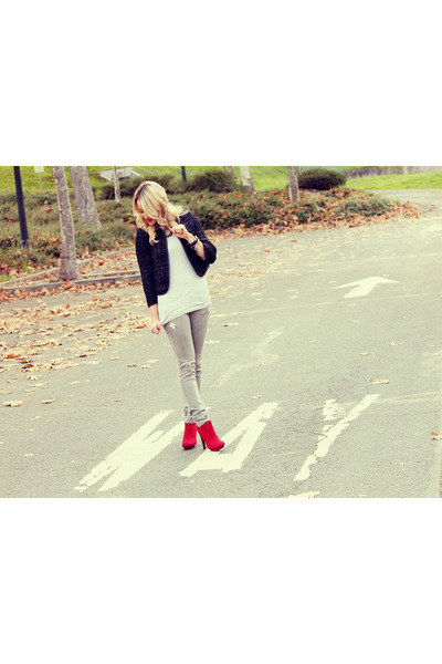 red Zara boots - skinnies Hurley jeans - structured Sugarlips jacket
