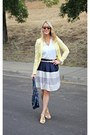 Yellow-ruche-shoes-yellow-h-m-blazer-white-h-m-shirt-stripped-cozy-skirt