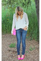 pink Qupid shoes - blue Apricot Lane Botique jeans - dotted Forever 21 shirt