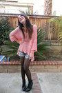 Bubble-gum-lf-sweater-light-blue-shorts-black-sam-edelman-wedges