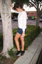 white vintage shirt - blue f21 shorts - black Jeffrey Campbell shoes - gold Vint