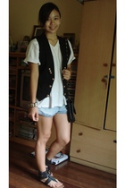 vest - Hanes shirt - Trunkshow accessories - shorts - Athena shoes - thrifted ac
