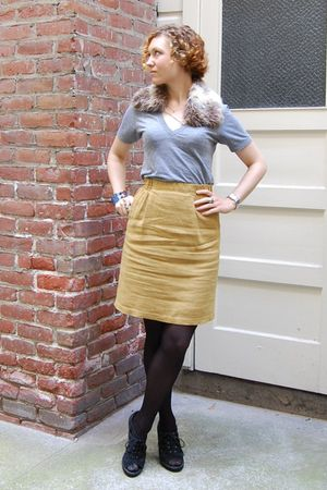 gold vintage skirt - silver American Apparel t-shirt
