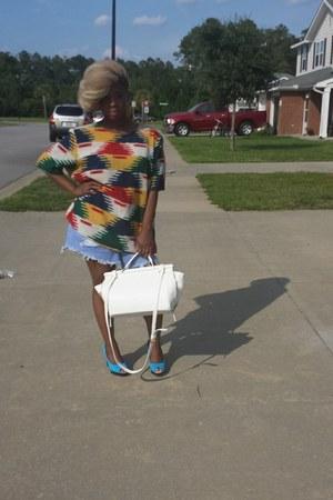 maroon good shirt Goodwill shirt - ivory f21 bag - blue H&M heels