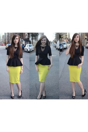 peplum H&M top - Forever 21 necklace - pencil skirt asos skirt