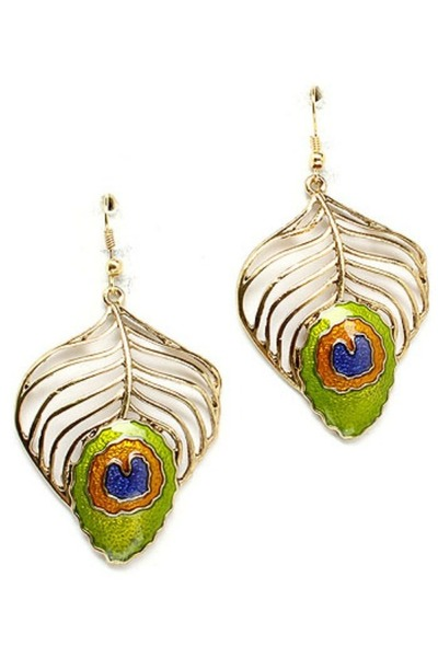 Gold peacock earrings - TheFind