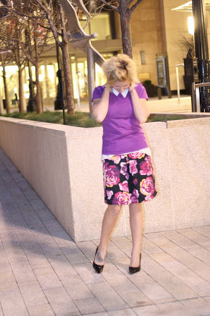 amethyst floral skirt Express skirt - purple Mossimo sweater - H&amp;M top
