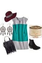 black suede boots cotton on boots - turquoise blue colorblock Mossimo dress