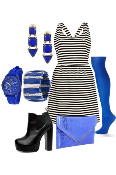 striped dress River Island dress - apt 9 tights