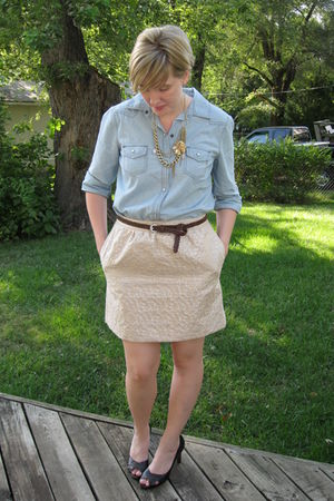 blue Old Navy shirt - gold Loft skirt - gold Loft necklace - brown Loft belt - b