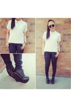 eggshell aa shirt - black H&M pants - black Elly Clay wedges