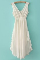 White V Neck Bandeau Ruffles Chiffon Dress