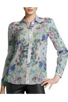  White Lapel Long Sleeve Floral Chiffon Blouse