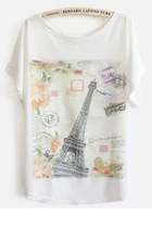 White Batwing Short Sleeve Eiffel Tower Print T-Shirt