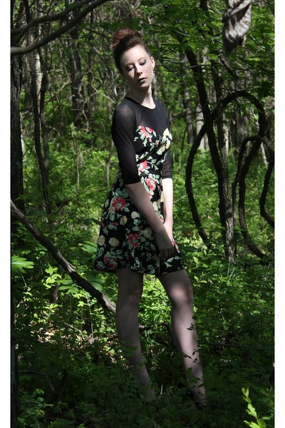 forest green sheer floral Forever 21 dress