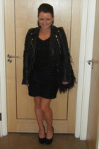 sparkly knit Oasis dress - leather biker River Island jacket - feather River Isl