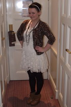 lace TK Maxx dress - leopard tesco cardigan - tan leather River Island wedges