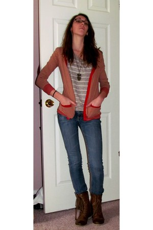 striped shirt - combat boots boots - striped cardigan - owl Forever 21 necklace
