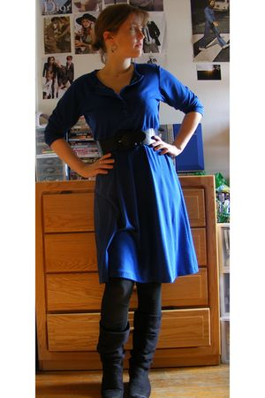 blue thrifted dress - black Zara boots - blue Forever 21 belt