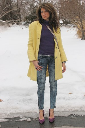 yellow Bebe coat - jeans - purple H&M sweater - silver the sak bag - silver Jcre
