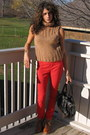 Camel-thrifted-sweater-red-h-m-pants-tawny-h-m-shoes